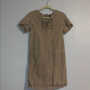 Sandy brown jcrew midi dress